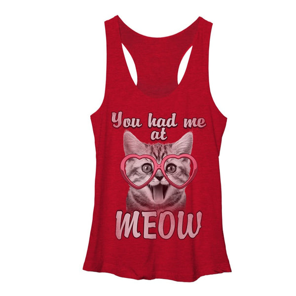 Valentine's Day You Had Me At Meow Young Womens Racerback Tank | Tees