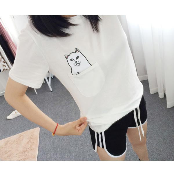 Women Print T-Shirt (+ Black Pocket Cat Harajuku) | Tops