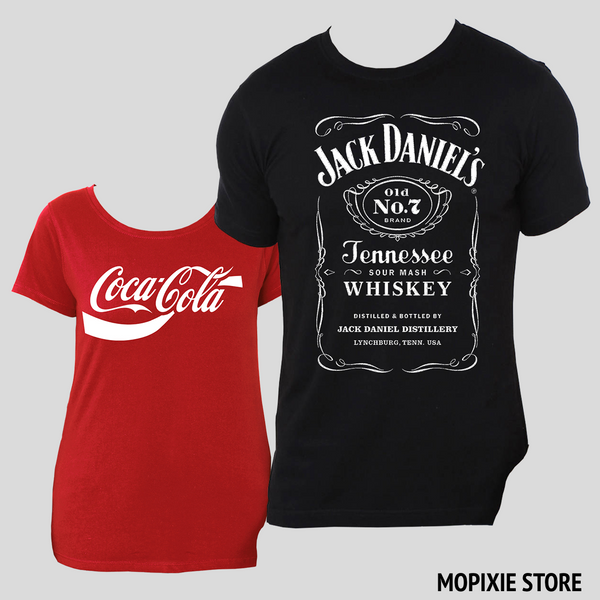 Jack Daniels Coca Cola Printing Couple Lovers Tee T Shirt