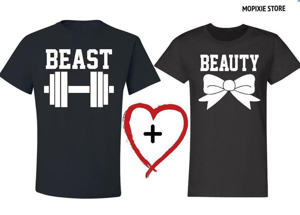 2017 New Beauty and the Beast Letter Print Couple Women Men Tshirts