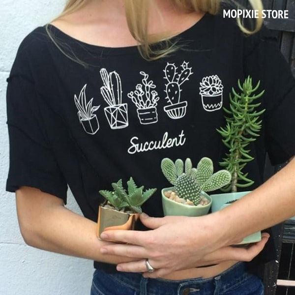 Pot Flower Printed T shirt Women