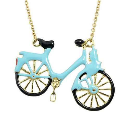 Blue Bicycle  Pendant  Necklace