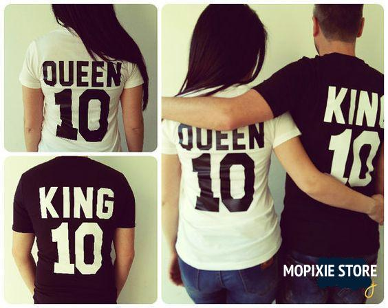 King Queen 10 Funny Letter Print Couples Valentine T Shirts