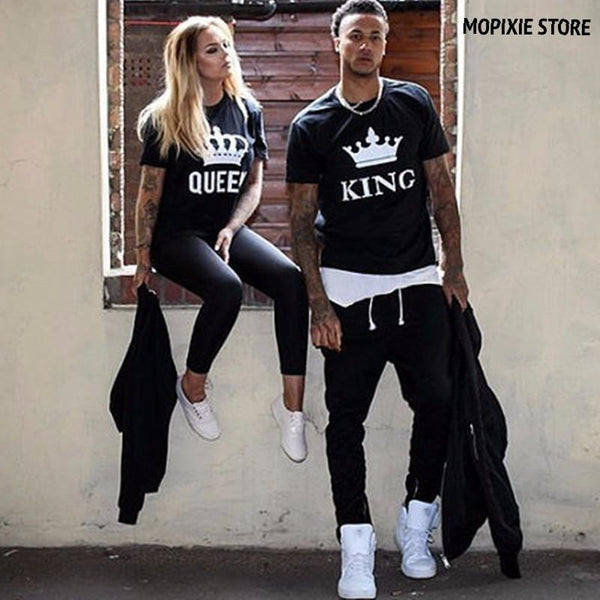 2017 NEW KING QUEEN Letter Printed Couple Black Tshirts