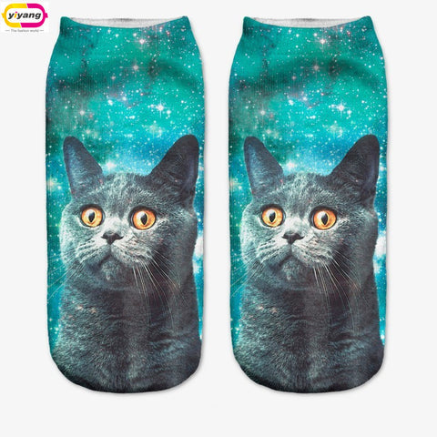 3D Printed Animal Casual Socks Cute Cat Unisex Low Cut Girl Cotton Ankle Socks - Mopixie Toys