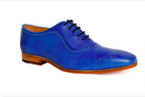 blue patina premium handcrafted leather shoe angle view