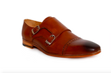 tan double monk leather shoe - angle view