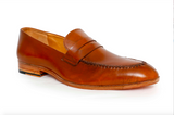 tan premium leather loafer - angle view