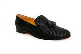 handcrafted black woven leather loafer - angle view