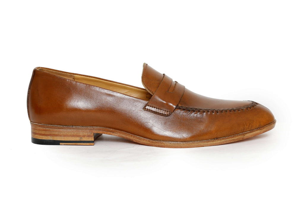 tan premium handcrafted leather loafer - side view