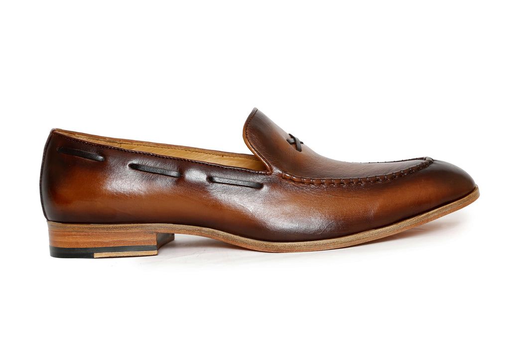 handcrafted two tone leather loafer - side view