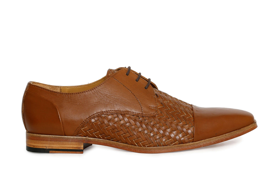 woven oxford premium leather shoe - side view