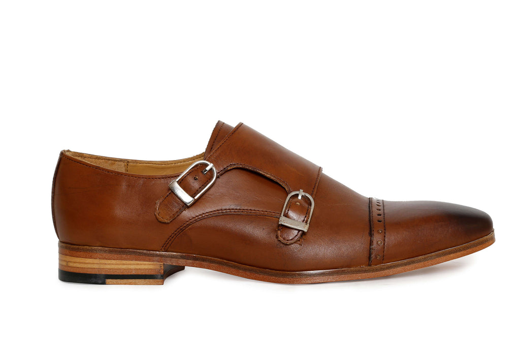 handcrafted tan monk leather shoe - side view
