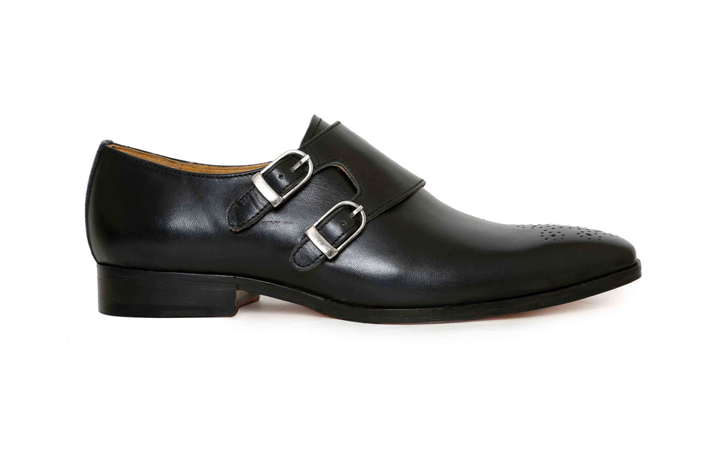 handcrafted shoe black monk side angle