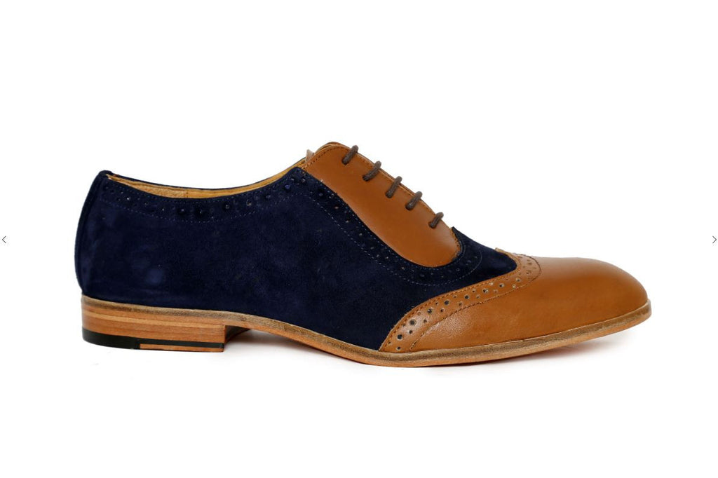 tan blue suede combination side angle
