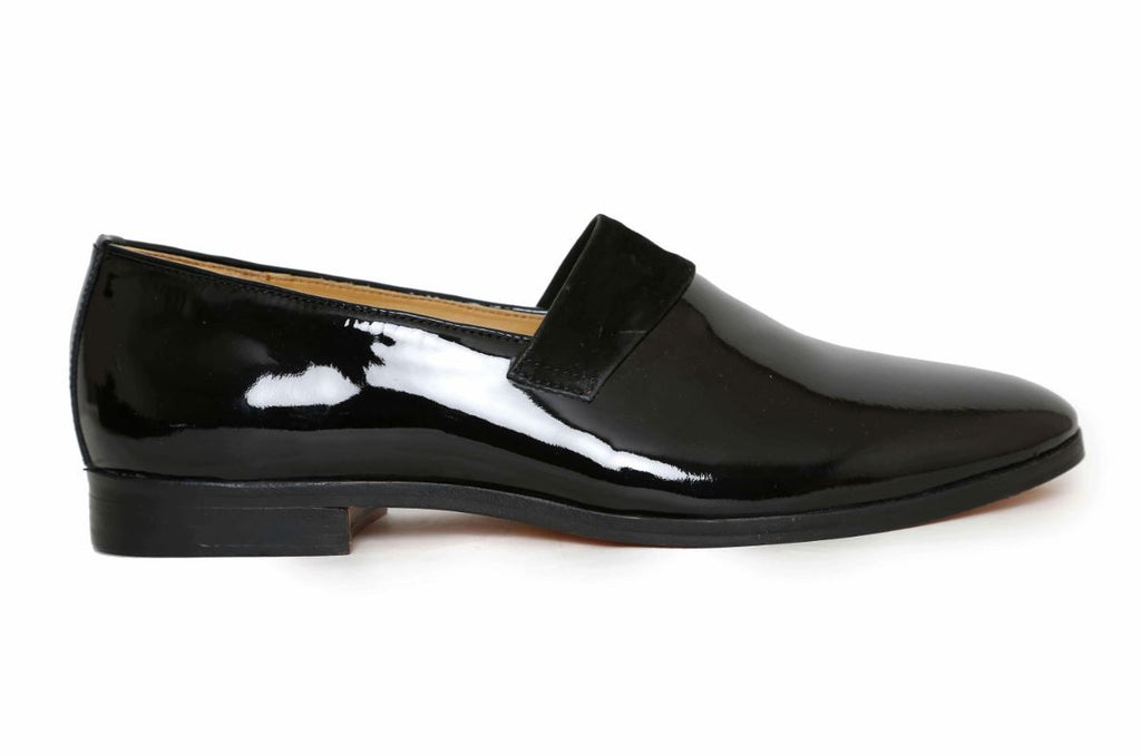 patent black handcrafted shoe side angle