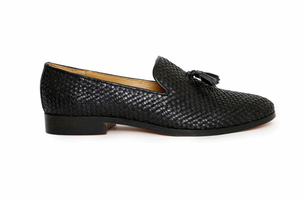handcrafted black woven loafer side angle