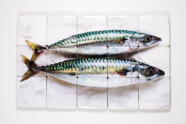 Two mackerels on paper (100cm x 60cm)