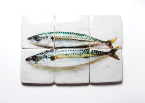 Two mackerels on paper (60cm x 40cm)