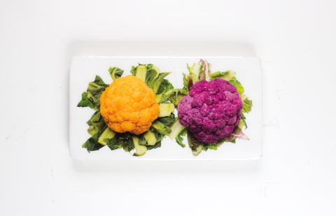 Yellow and purple cauliflower (35cm x 20cm)