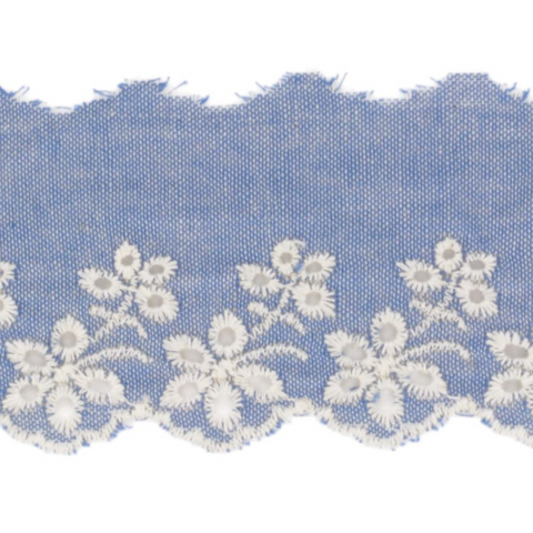 Galon de broderie anglaise Jean bleached