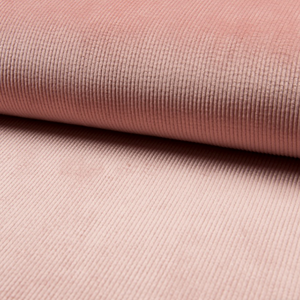 Coupon Tissu Velours stretch - Côtes moyennes - ROSE