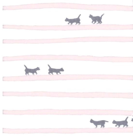 Coupon Jersey stretch- Grey Cats - Rose