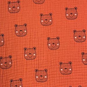 Tissu double gaze Bio - Ourson - Terracotta