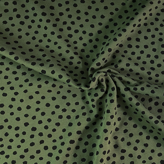Jersey stretch BIO - Dots - Army Green
