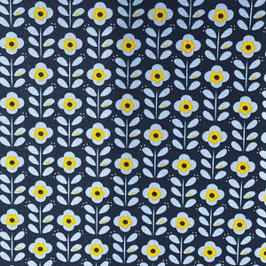 Toile enduite - Flower Power - Navy