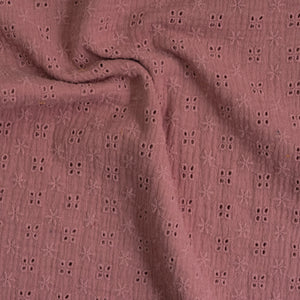 Tissu double gaze / broderie anglaise - Rose
