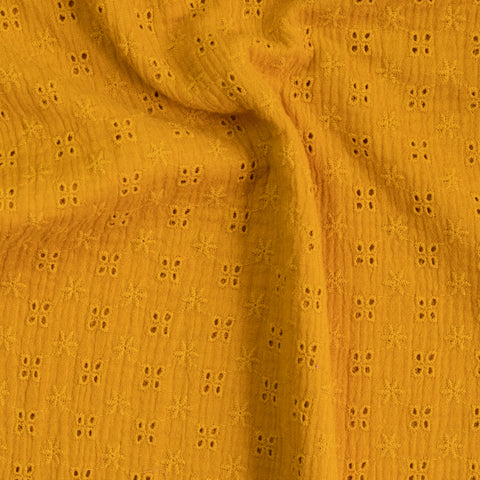 Tissu double gaze / broderie anglaise - Ocre