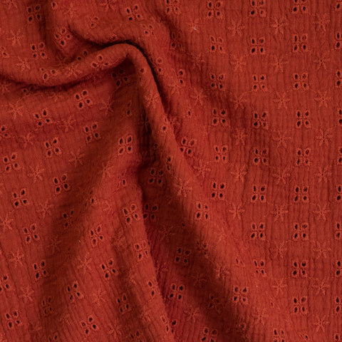 Tissu double gaze / broderie anglaise - Rust