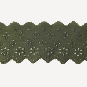 Galon de broderie anglaise 63mm - Vert olive