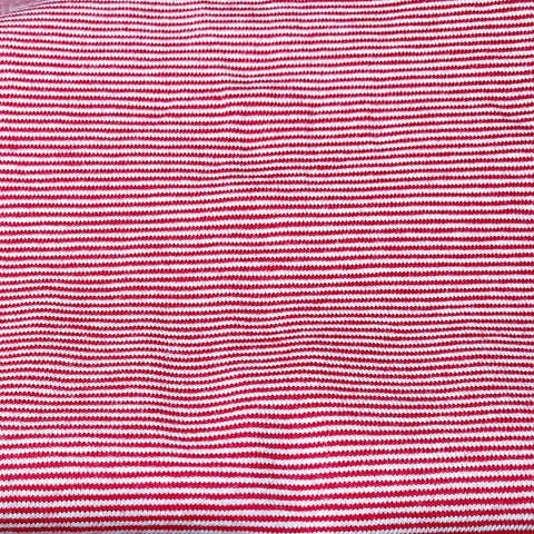 Jersey stretch- micro Rayure 1mm- Rouge/Blanc