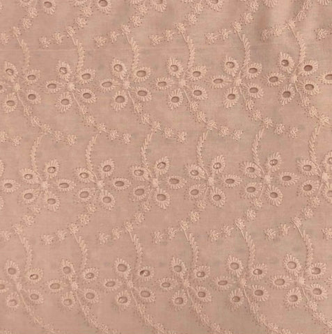 Tissu broderie anglaise / popeline France Duval Stalla - Nude