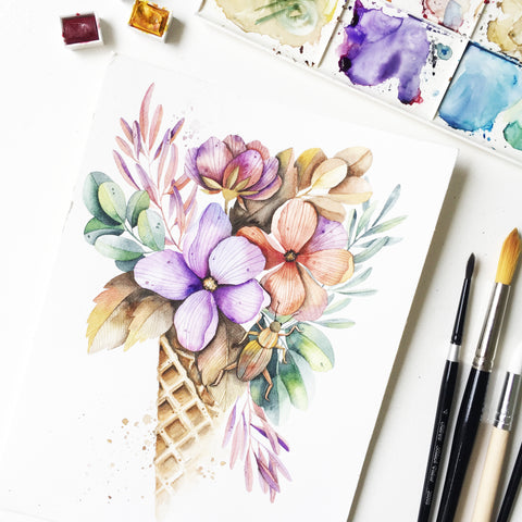 21 Oct - Florals in a Cone (Watercolor)
