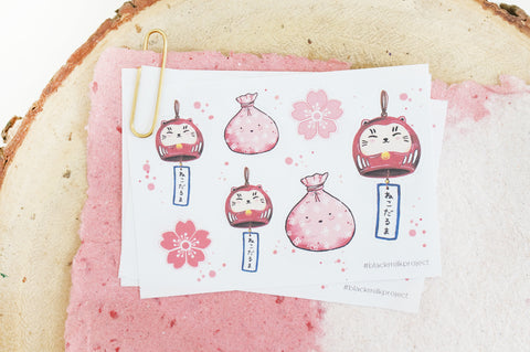 Neko Daruma Furin (Mini Sticker Sheet)