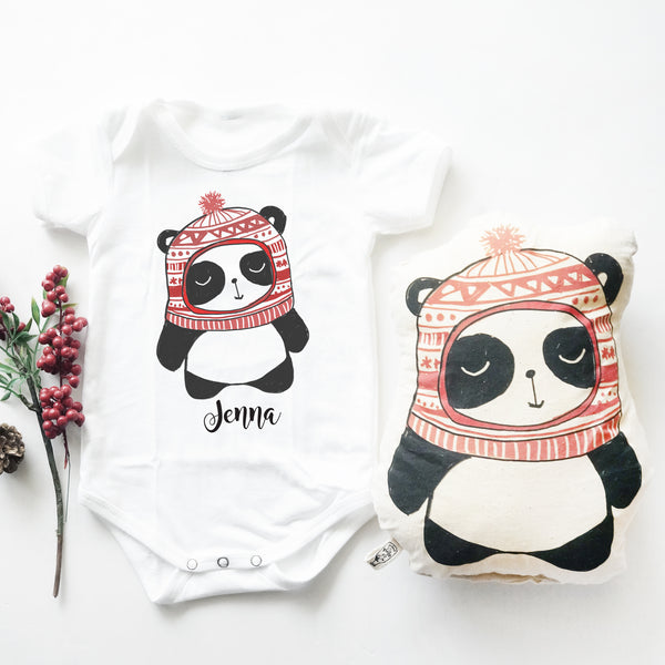 Christmas Panda (Top & Plush Toy Set)