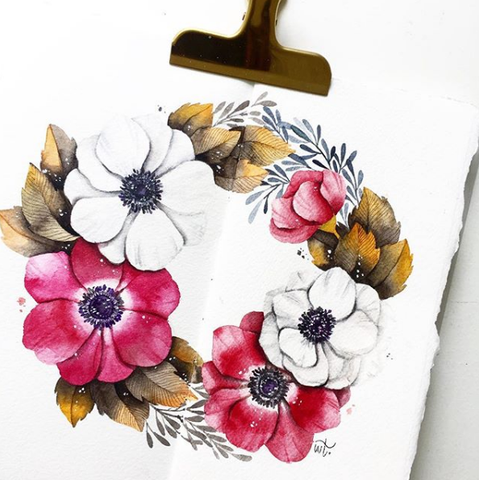 12 Oct - Watercolor Floral Wreath @ Cziplee