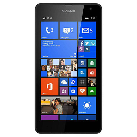 "Microsoft Lumia 535 Smartphone, Windows Mobile, 5"", 3G, SIM Free, 8GB, Black"