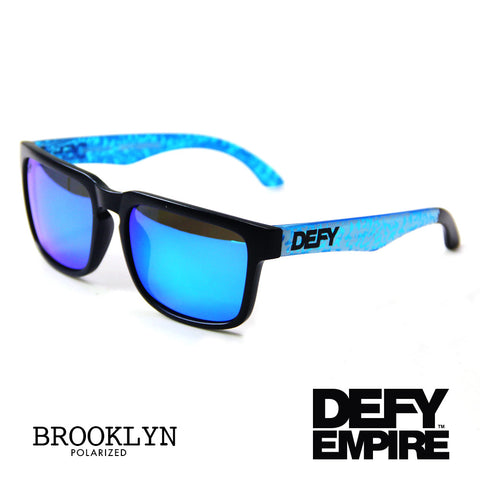 BROOKLYN - MATTE BLACK FRAME/ICE BLUE MIRROR POLARIZED LENSES