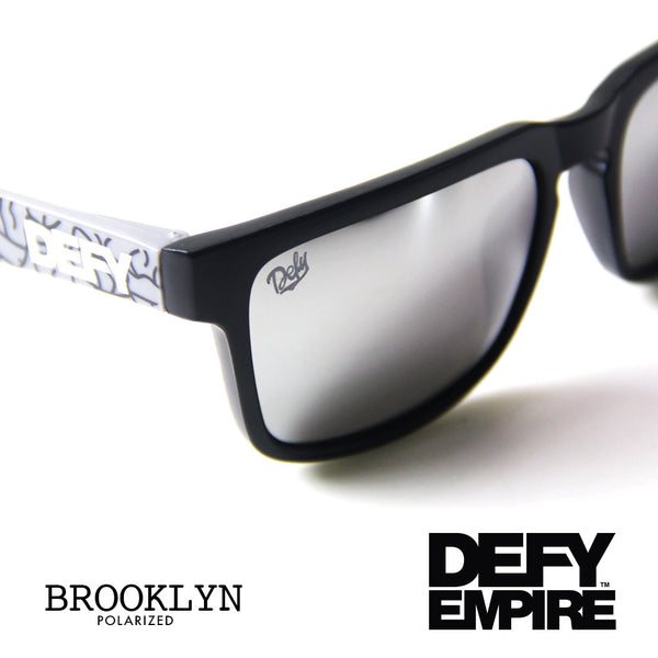BROOKLYN - MATTE BLACK FRAME/SILVER MIRROR POLARIZED LENSES SUNGLASS