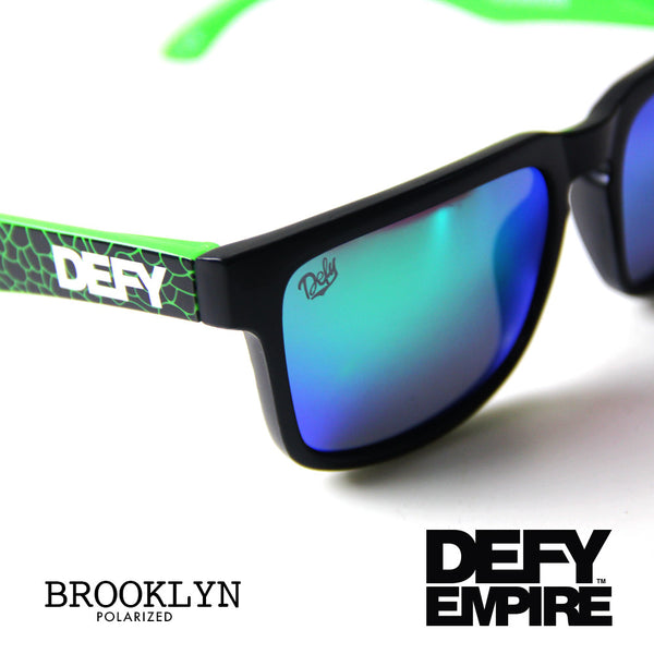 BROOKLYN - MATTE BLACK FRAME/GREEN MIRROR POLARIZED LENSES