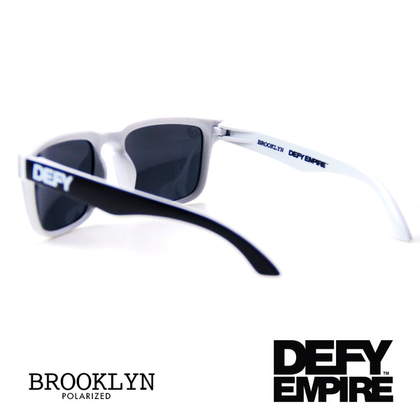 BROOKLYN - MATTE BLACK AND WHITE FRAME/GREY POLARIZED LENSES SUNGLASS