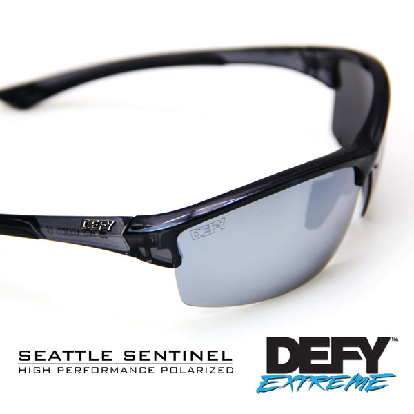 SEATTLE SENTINEL BLACK CLEAR/SILVER POLARIZED SUNGLASS WITH BLUE LIGHT FILTER CLEAR YELLOW LENSES