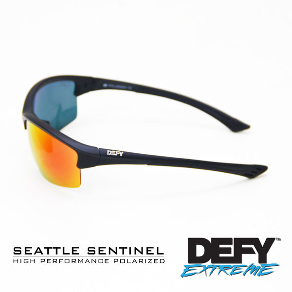 SEATTLE SENTINEL MATTE BLACK/RED POLARIZED SUNGLASS WITH BLUE LIGHT FILTER CLEAR YELLOW LENSES