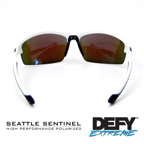SEATTLE SENTINEL WHITE/BLUE POLARIZED SUNGLASS WITH BLUE LIGHT FILTER CLEAR YELLOW LENSES