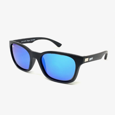DAYTONA - MATTE BLACK FRAME/BLUE MIRROR POLARIZED LENSES SUNGLASS