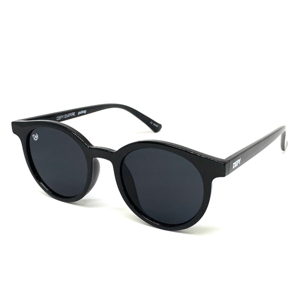 QUINCY - GLOSS BLACK FRAME / GREY LENSES SUNGLASS